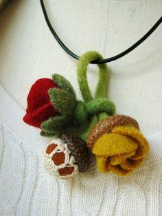 wool felt flower pendant, brooch