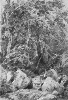 Ivan Shishkin Иван Иванович Шишкин. Деревья у ручья на горе Кастель. 1879.