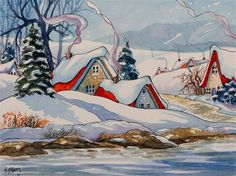 """""""Winter on the River Storybook Cottage Series"""" - Original Fine Art for Sale - © Alida Akers"""