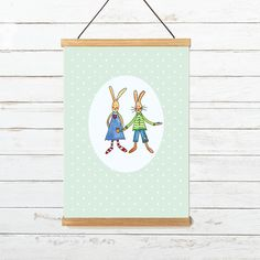 Grußkarte Hasenpaar mit Blume Illustration, Decor, Graphic Prints, Bunny, Paper Board, Templates, To Draw, Flowers, Decoration