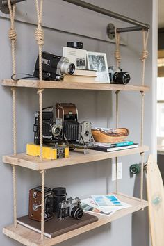 Glitter Guide x Modish and Main Home Tour. Put on display a vintage camera collection found at the Flea Market for a fun twist on home decor.
