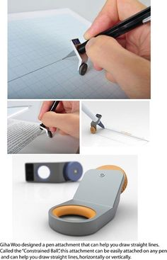 """Constrained Ball"" pen attachment helps you draw straight lines."