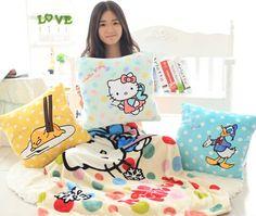 Plush 1pc soft gudetama egg hello kitty Donald Duck office cushion + warm blanket stuffed toy creative romantic gift for baby