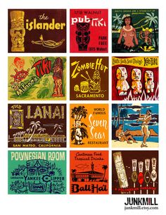 TIKI ROOM - Digital Printable Collage Sheet - Vintage Tiki Matchbook Covers, Polynesian Culture, Easter Island Statues, Digital Download