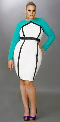 """Monif C Plus Sizes Fall 2012: """"Maggie"""" Color Block Banded Dress - Jade/Ivory"""