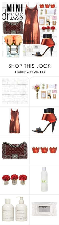 """""""Metallic dress- yes! Love this color"""" by schogetter ❤ liked on Polyvore featuring Tempaper, Paco Rabanne, Kim Kwang, Chanel, Cultural Intrigue, The French Bee, Henri Bendel, Sans [ceuticals], Stila and Emilio Robba"""
