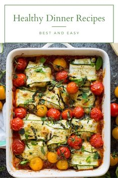 Veggie filled zucchini ravioli stuffed with ricotta and baked over a simple marinara sauce with burst cherry tomatoes. Easy Zucchini Recipes, Healthy Zucchini, Easy Healthy Recipes, Easy Meals, Healthy Food, Healthy Bars, Healthy Eating, Zucchini Ravioli, Zucchini Gratin