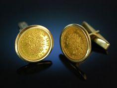 Coin Cufflinks! Manschettenknöpfe Goldmünzen 5 Mark Reichs Gold Münzen Hamburg 1877 Rahmung Gelb Gold 585 um 1965