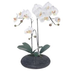 White Artificial Silk Phalaenopsis Orchid Centerpiece in Rock Base - Overstock™ Shopping - Great Deals on Red Vanilla Silk Plants