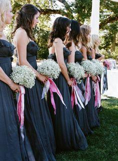 Bridesmaid attire via Amsale + Baby´s breath - Napa Valley Wedding from Sylvie Gil + Kathy Higgins
