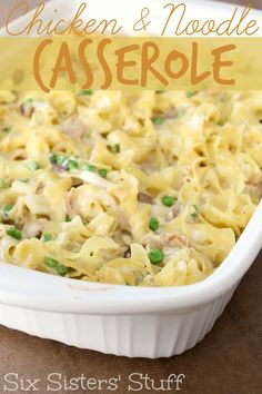 The Chicken and Noodle Casserole is perfect for a cold day! Sixsistersstuff.com