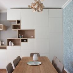 Door - Custom closet door for decorative storage White mat and oak: a chic duo for the fronts of the dining room furniture # b Room Furniture, Dining Room Design, Custom Closet, Custom Closet Doors, Home Decor Furniture, Furniture, Kitchen Table Decor, Dining Room Bench, Dining Room Furniture
