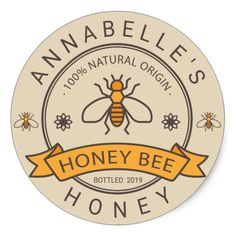 Honey label - Honey Label Zazzle com – Honey label Honey Label, Honey Jar Labels, Honey Jars, Jar Design, Label Design, Packaging Design, Honey Logo, Honey Brand, Honey Packaging
