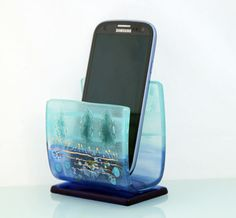 Cell Phone Holder / Desk organizer For Home Or by virtulyglass, $30.00