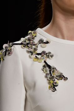 Dress with sequin embellished shoulder; sewing idea; nature-inspired fashion detail // Giambattista Valli Spring 2015