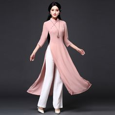 Quality 2020 Vietnam Ao dai qipao Traditional Chinese Dress Qipao Cheongsam Dresses Cotton Linen Robe Chinoise Aodai 2 Pieces Suit with free worldwide shipping on AliExpress Mobile Stylish Dresses, Casual Dresses, Fashion Dresses, Fashion Fashion, Runway Fashion, Fashion Trends, Ao Dai, Cheongsam Dress, Kurti Designs Party Wear