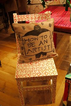 Love chair and cushion. Love Chair, Cool Artwork, Amazing Artwork, Unique Furniture, Soft Furnishings, Textile Art, Crafts For Kids, Cushions, Throw Pillows