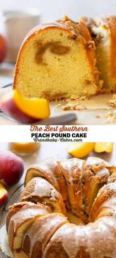 This Southern Peach Pound Cake recipe begins with a silky cake batter that's swirled with a sweet homemade peach jam and spiced cinnamon streusel, baked to perfection then topped with a decadent maple glaze. #peach #bundt #poundcake #cake #peachswirl #peachjam Pound Cake Recipes, Cupcake Recipes, Baking Recipes, Cookie Recipes, Kitchen Recipes, Pie Recipes, Family Recipes, Recipes Dinner, Vegan Recipes