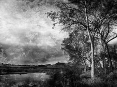 Santa Ana River - Roger B. Clay • First came across Roger's amazing Californian landscapes in Facebook's WiAM (World iPhoneography Art movement) pages. I love that his works have a beautful painterly qaulity, like an 18th century old master, but he will throw in a modern focal point occasionally. I appreciate also his low perspectives and his work in monochromes.