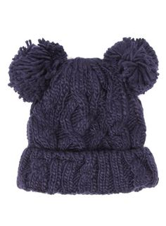Navy pom pom knitted hat - Winter Accessories   - Accessories