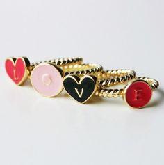 """""""love"""" stackable rings.. cute :) $4"""
