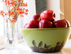 Hand Painted Wooden Bowl  Birds on a Fence by BaledHay on Etsy, $60.00
