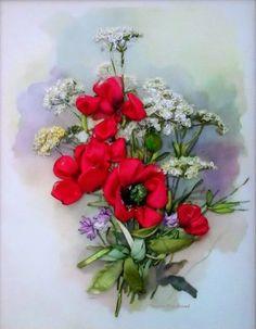 "picture ""Wildflowers"",  Silk ribbon embroidery, roses, ribbonwork di SilkRibbonembroidery su Etsy"