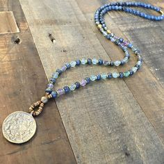 Kyanite and Flourite 'Tranquility and Cleansing' beaded necklace with Tibetan pendant, 108 bead mala. #malas