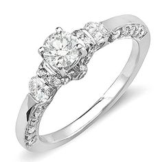 101 Carat ctw 14k White Gold Round Diamond Ladies 3 Stone Bridal Engagement Ring Size 7 ** Be sure to check out this awesome product.(This is an Amazon affiliate link and I receive a commission for the sales)