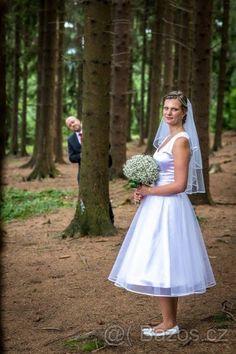 Retro svatební šaty pod kolena - 1