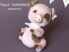 OOAK, soffice scultura maialino peluche, teddy artistico, giocatolo da collezione by villaParadisoC on Etsy