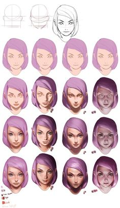 Spensa from skyward by Brandon Sanderson drawing tutorial but with purple hair - Wellington Garcia Garcia - Digital Painting Tutorials, Digital Art Tutorial, Art Tutorials, Digital Paintings, Sakimichan Tutorial, Coloring Tutorial, Process Art, Drawing Techniques, Drawing Guide