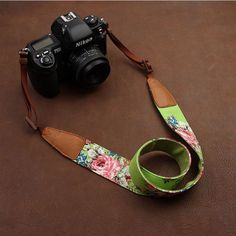 Green Cowboy Flower Handmade Leather Camera Strap Brown 7133/7134/7135/7136/7137