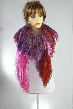 Festival wear at Rocking Pony, my #etsy shop: Boho Scarf, Fringe Scarf, Steampunk Burlesque, Burning Man Clothing, Festival Scarf, Non Feather Boa, Steampunk Victorian, Long Fringe Scarf http://etsy.me/2CzwtV3 #accessories #scarf #pink #birthday #christmas #pu