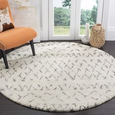 For Safavieh Handmade Casablanca Ivory Grey Wool Rug 6 Round