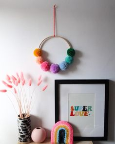 Small Pom Pom Wreath in Bright Rainbow – Never Perfect Studio Pom Pom Crafts, Yarn Crafts, Diy Crafts, Pom Pom Decorations, Rainbow Decorations, Pom Pom Wreath, Rainbow Room, Easter Crafts For Kids, Upcycled Crafts