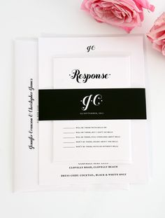 Black and white wedding invitations Print out initials on wallet size picture pate in the middle of paper or ribbon