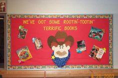 Cowboy bulletin board(for reading) Cowboy Bulletin Boards, Birthday Bulletin Boards, Reading Bulletin Boards, Library Themes, Library Displays, Library Ideas, Cowboy Theme, Western Theme, Cowboy Party
