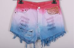 TIE DYE Ombre Levi Shorts Vintage Colourful Destroyed DIY Cut Off Jeans High Waisted Denim M. $49.00, via Etsy.
