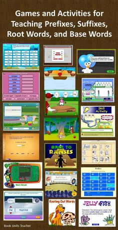 What a great webpage! Links to 19 online games all in one place. This is a great link to provide parents when you are studying prefixes, suffixes, and root words. (Computer Tech For Kids) Word Study, Word Work, Computer Games For Kids, Gaming Computer, Games Memes, Grammar Games, Ela Games, Prefix Games, Prefixes And Suffixes