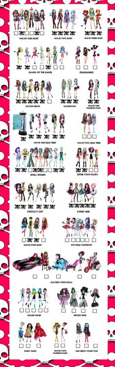 Do you have them all?? Monster High Doll Checklist by *Shimmeree13