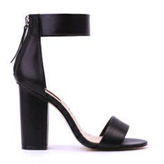 SIREN Golden Leather Block Heels Black