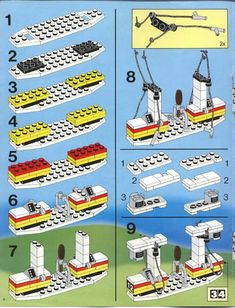 Thousands of complete step-by-step printable older LEGO® instructions for free. Here you can find step by step instructions for most LEGO® sets. Lego Duplo, Lego Moc, Lego Design, Notice Lego, Modele Lego, Lego Structures, Bored Kids, Lego City Sets, Lego Club