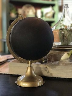 Custom Calligraphy Globe / Black Chalkpainted Globe / Gold