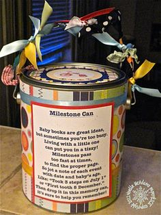 Milestone Can for baby gift I think I'll do this with aiden