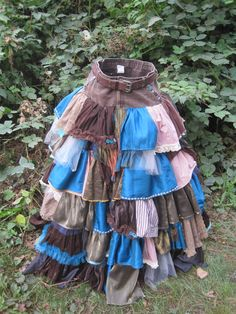 Scrap Art Couture - Upcycled Steampunk Peacock Skirt - Full Length Victorian Patchwork Circle Skirt (Brown, Cream, Turquoise)