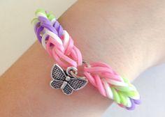 Rainbow Loom Fishtail Rubber Band Bracelet with Butterfly Charm by BCsBracelets