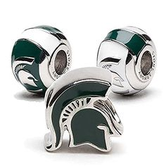 Best Bracelets For Women | MSU Spartans 3D Bead Charms  Set of 3  1 Football Helmet  2 Round Spartan Beads >>> Continue to the product at the image link.(It is Amazon affiliate link) #baby