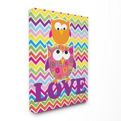 The Kids Room Rainbow Chevron Love Owls Wrapped Canvas Wall Art