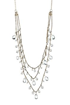 Glass Bead Drops & Tiered Triple Strand Necklace.
